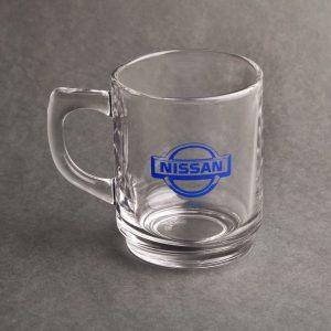 لیوان شیشه ای شفاف دسته دار تبلیغاتی