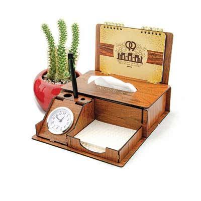 تولید ساعت رومیزی تبلیغاتی چوبی